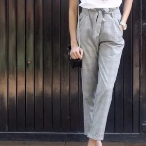 Zara Trafuluc Plaid Paperbag Trousers - Grey / M
